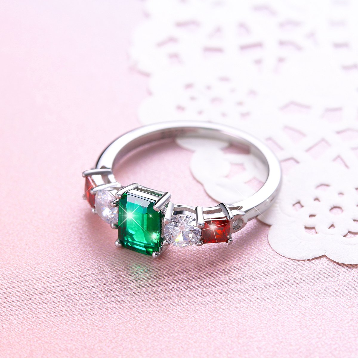 Vintage Elegant Jewelry 925 Sterling Silver Green and Red Cz Ring for Mom Size 9 by SILVER MOUNTAIN (Image #2)