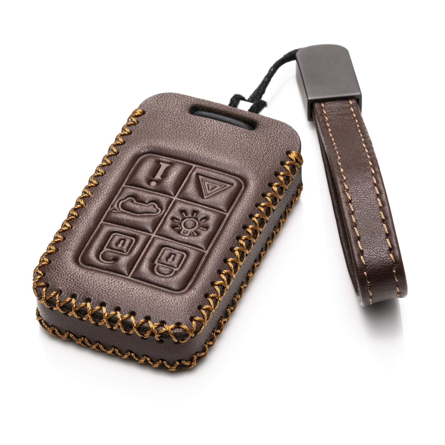 XC60 S80 6-Button, Red XC70 Vitodeco Genuine Leather Smart Key Fob Case Cover Protector with Key Chain for Volvo S60 V70