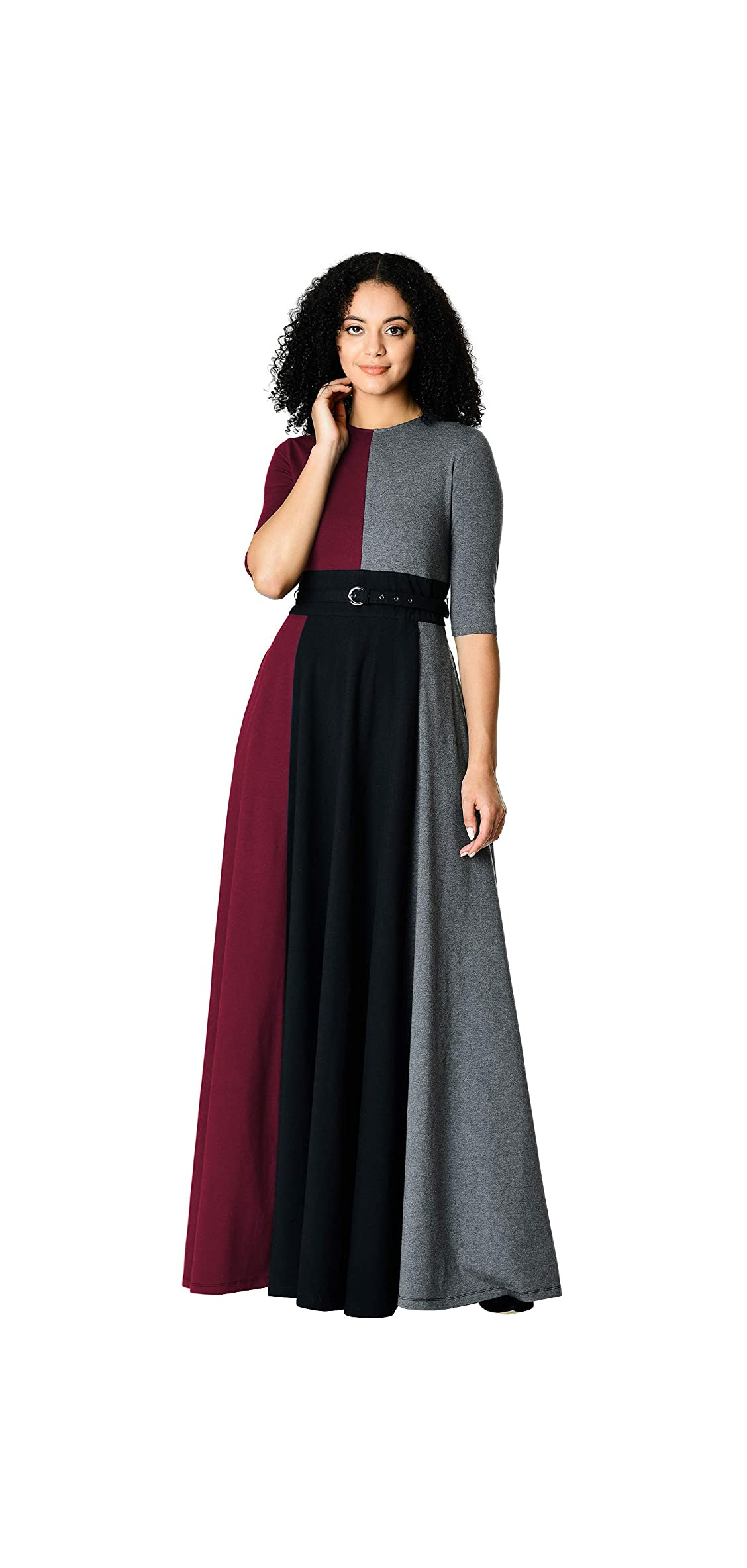 Fx Colorblock Cotton Knit Belted Maxi Dress - Neckline,