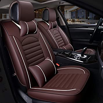 Amazon Com Freesoo Car Seat Cover Leather Front Rear Full Set Luxury Car Seat Covers Universal Fit For 5 Seats Most Cars Suv And Pick Up Truck Interior Accessories Coffee1 Automotive