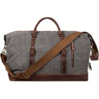 S-ZONE Oversized Canvas Genuine Leather Trim Travel Tote Duffel Shoulder Weekend Bag Weekender Overnight Carryon Hand Bag (Gray)