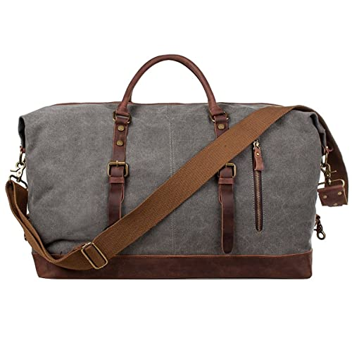 S-Zone Oversized Canvas Genuine Leather Trim Travel Tote Duffel Shoulder  Handbag Weekend Bag  Amazon.in  Shoes   Handbags 79a5481e6b501