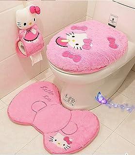 Ikeelife Cute Hello Kitty Bathroom Pedestal Mat Cotton Non Slip Bath Toilet Contour Rug