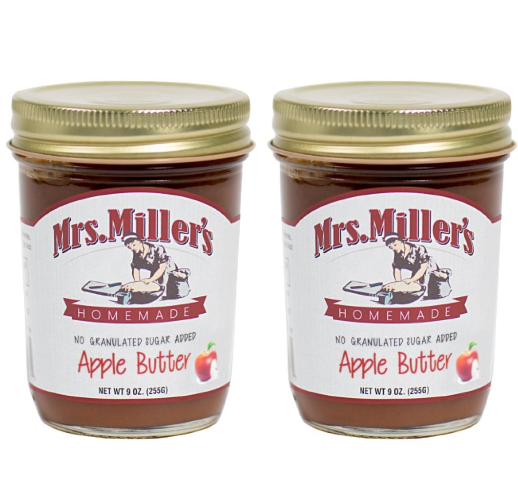 Mrs. Miller's Amish Homemade Apple Butter No Granulated Sugar Added Jam 9 Ounces - Pack of 2 (No Corn Sugar)