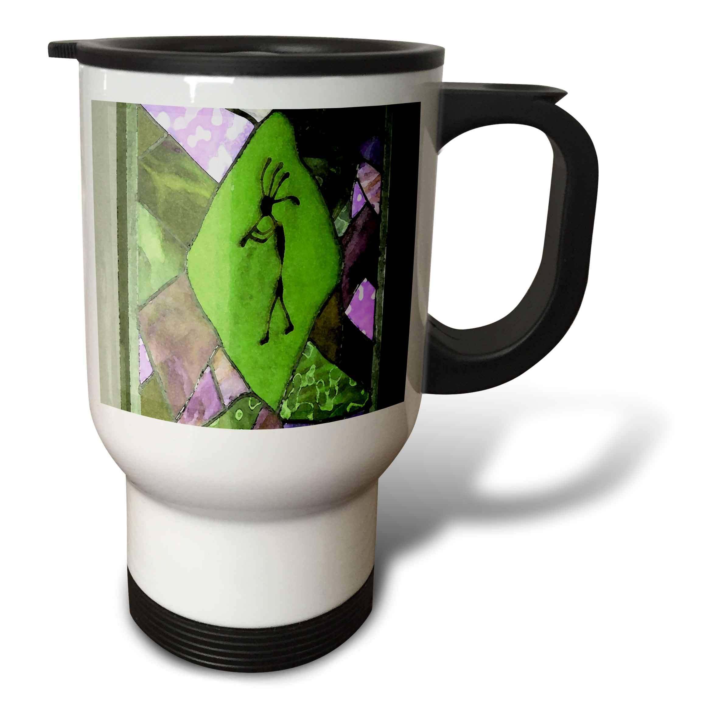 3dRose Jos Fauxtographee- Kayenta Decoration - A design on a window in green and purple with a kayenta look - 14oz Stainless Steel Travel Mug (tm_291082_1)