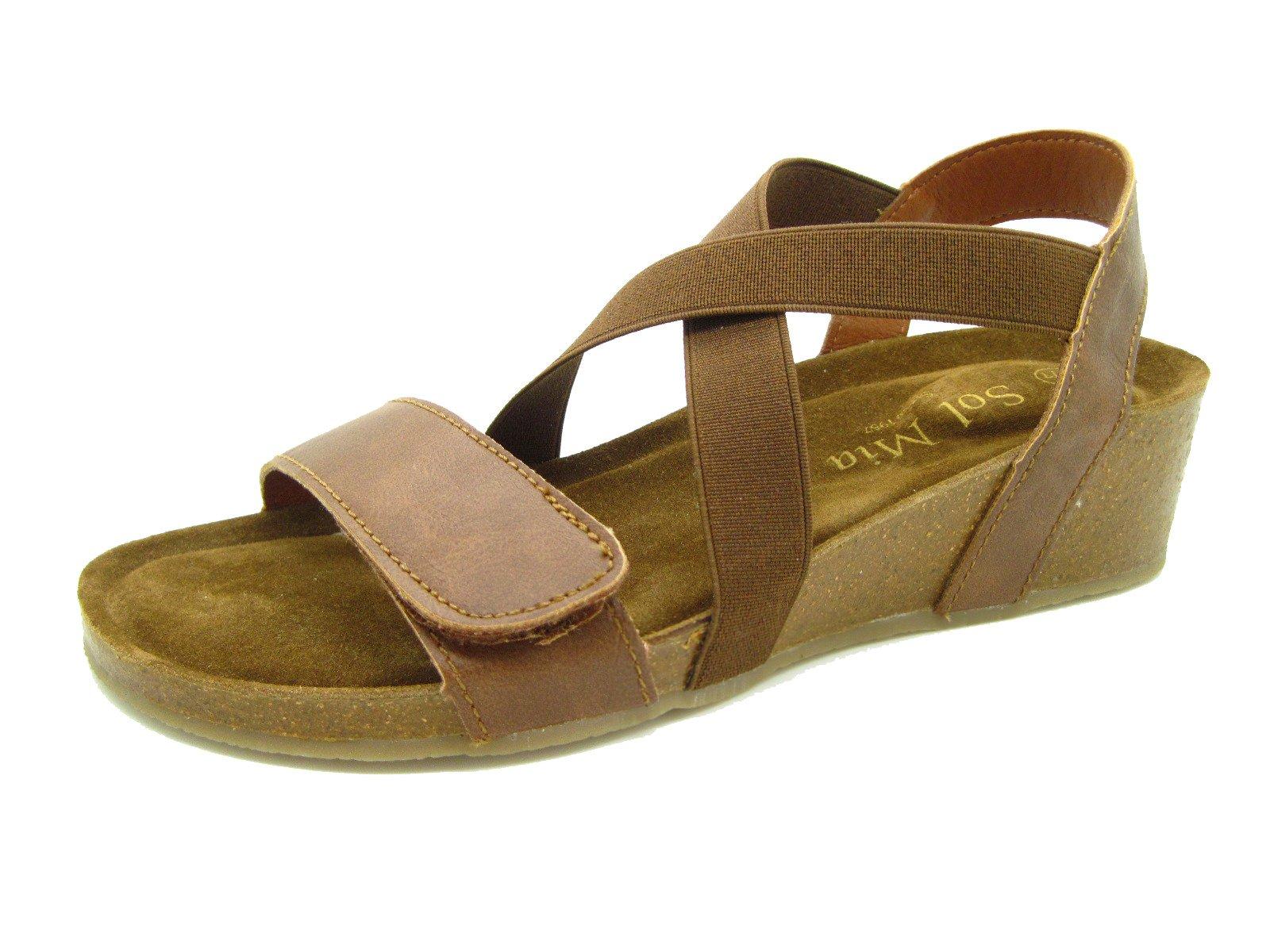 Sol Mia Women's Low Heel Wedge Comfort Sandals Adjustable Elastic Shoes, Brown, 10 B(M) / 41 M EU