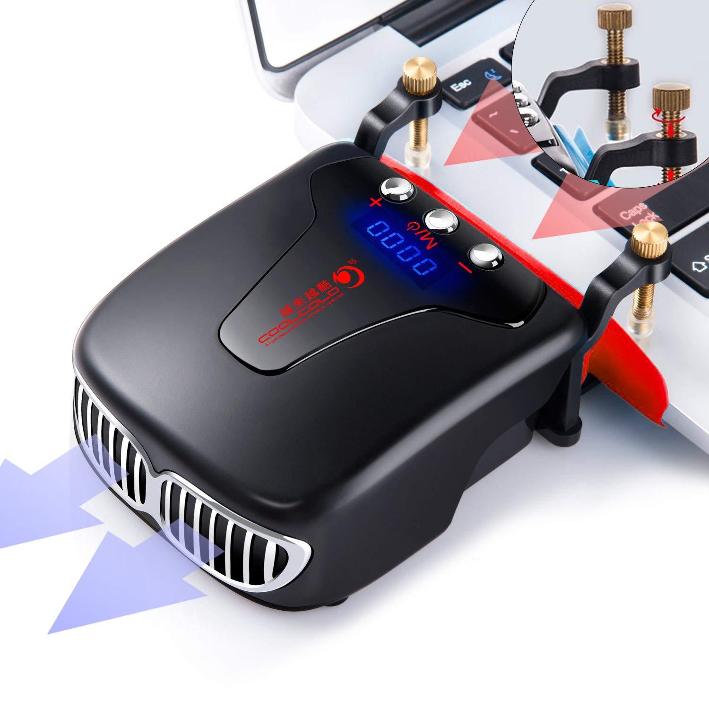 Laptop Fan Cooler, BestFire Portable Laptop Vacuum Cooler with Two Temperature Mode Display, Rapid Cooling, Auto-Temp Detection, Unique Clamp Design, USB Heat Sink for Laptops- Black