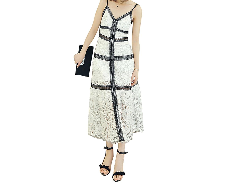 Amazon.com  AS503anakla Fashion Lace Branco Spaghetti Strap longo one Piece-Dress  Sexy self Portrait v Pescoço bolo Dress  Clothing 28b8011fcc51