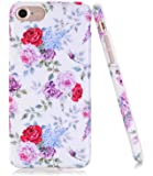 iPhone 7 Case, iPhone 8 Case with flowers, BAISRKE Slim Flexible Soft Silicone Bumper Shockproof Gel TPU Rubber Glossy Skin Cover Case for Apple iPhone 7 & 8 - Purple Rose