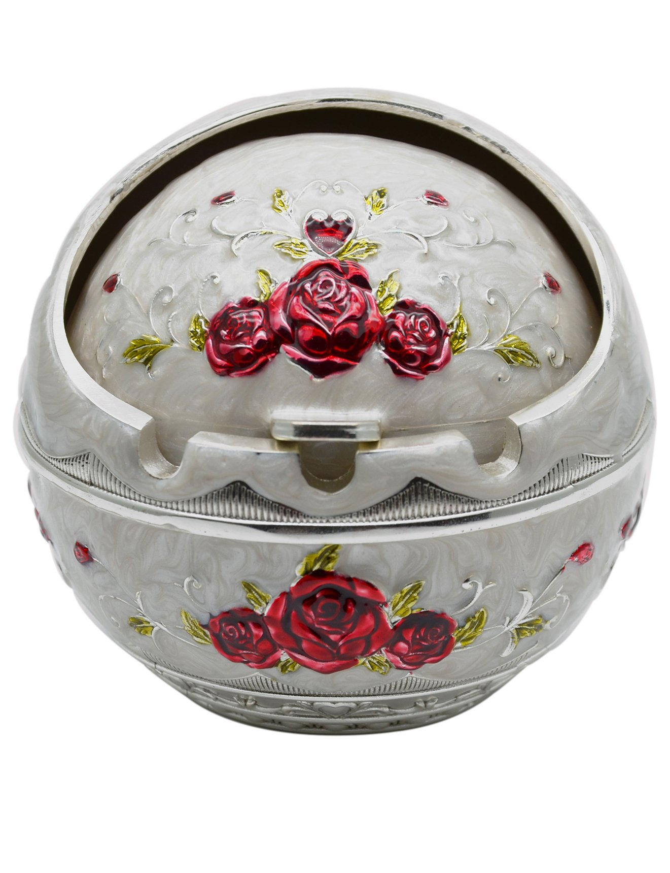 TOWOMO Vintage Cigar Ashtray with Lid, Red Rose Pattern-White