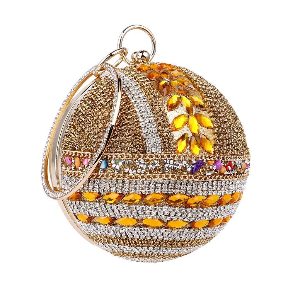 gold Soft Ladies Round Ball Clutch Bag Sparkly Diamond Evening Bag Wedding Purse Party Prom Wrist Bag Handbags Handbag (color   Red, Size   Diameter12cm)