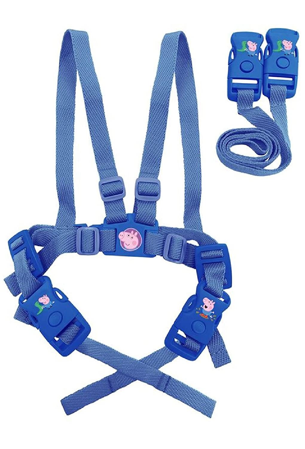 Boys George Pig Safety Harness and Travel Reins - Blue Alligator