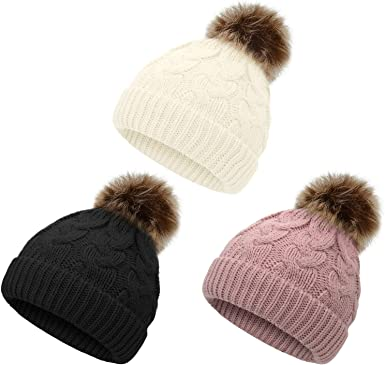 American Trends Baby Girl Hats Infant Baby Beanie Winter Hat Pom Pom Warm Toddler Boys Beanies Kids Cap