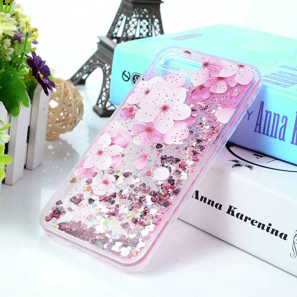 iPhone 7 Plus Case, Liquid Glitter Case Bling Shiny Sparkle Flowing Moving Love Hearts Cover Clear Ultral Slim Protective TPU Bumper Shockproof Drop Resistant Protective Case for iPhone 8 Plus KASOS by KASOS (Image #7)