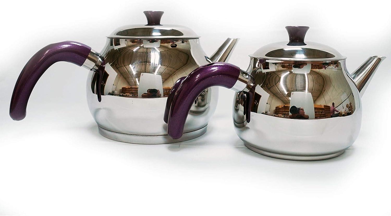 Lines Stainless Steel Turkish Tea Pot Set with Strainer Maxi Sphere Tea Pot Set 4 Pieces Purple Handle 3 Liter Capacity