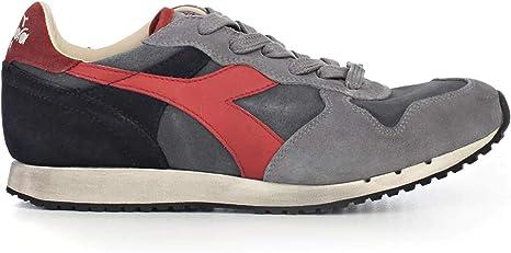 Diadora Heritage, Uomo, Trident S SW Grigio Rosso, Suede, Sneakers, Grigio, 40.5 EU