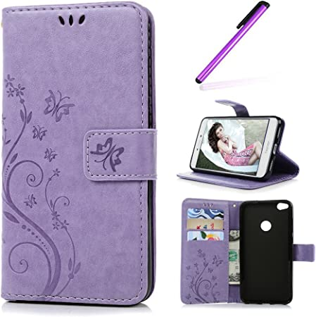 EMAXELERS Huawei P8 Lite 2017 Coque Elegant Papillons Fleur PU Cuir Housse Swag Case Cover Coquille Coque pour Huawei P8 Lite 2017,Light Purple ...