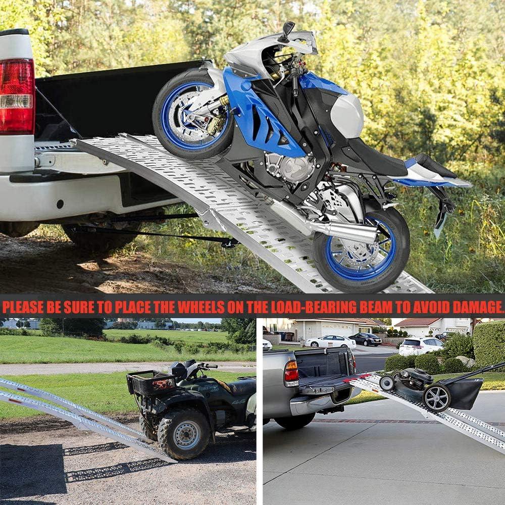 a Pair LKV 7.5ft Motorcycle Loading Ramp Aluminum Truck Folding Ramps for ATV UTV 4 Wheelers Snow Blower Lawn Mower Trailer Pickup 1500lbs Capacity