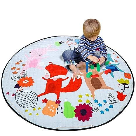 Cartoon Fox Cotton Baby Kids Gym Play Mat Crawling Blanket Portable Round Carpet Children Toys Playmat Storage Bag 150cm Activity & Gear Baby Gyms & Playmats