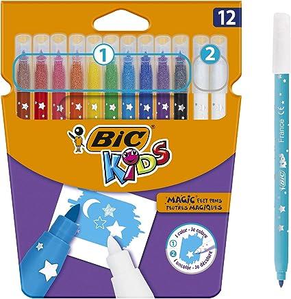 BIC Kids Colour & Erase Magic Rotuladores - Colores Surtidos, Blíster de 12 Unidades: Amazon.es: Oficina y papelería