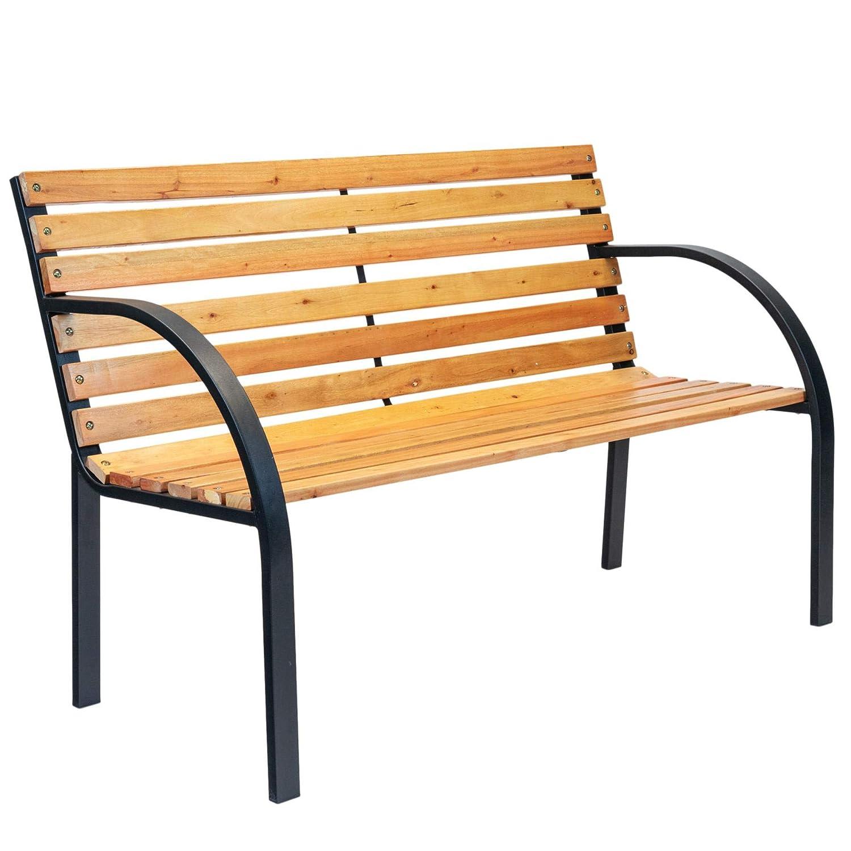 Peachy Harbour Housewares Garden Bench Coated Steel Norwegian Style Wooden Seat 2 Seater Modern Beatyapartments Chair Design Images Beatyapartmentscom