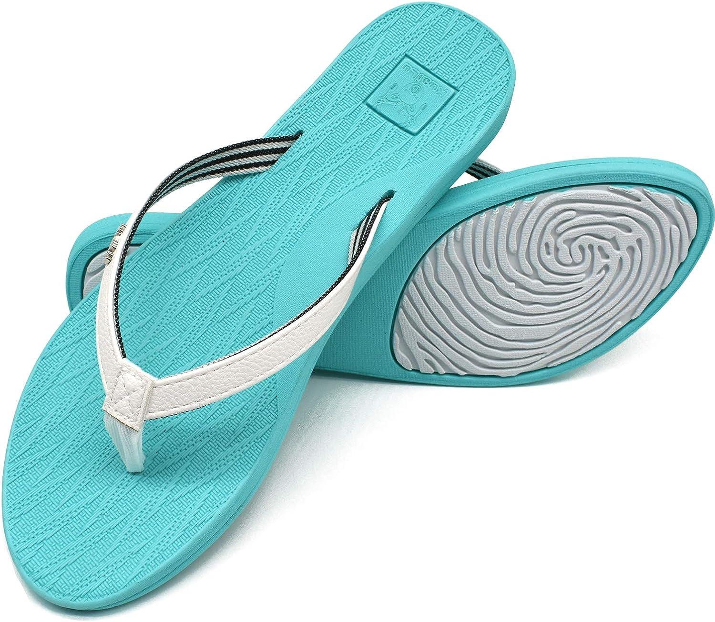 KuaiLu Tong Femme /ét/é UltraL/éger Cuir Sandales Yoga Mat Tongs de Plage et Claquettes de Piscine Mode Antid/érapante Chaussures