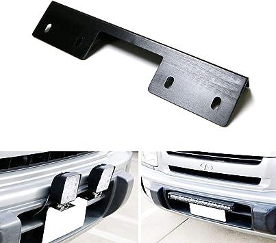 iJDMTOY Miniature Front Bumper License Plate Mount Bracket Holder For Off-Road Lights Black Finish LED Work Lamps etc LED Lighting Bars