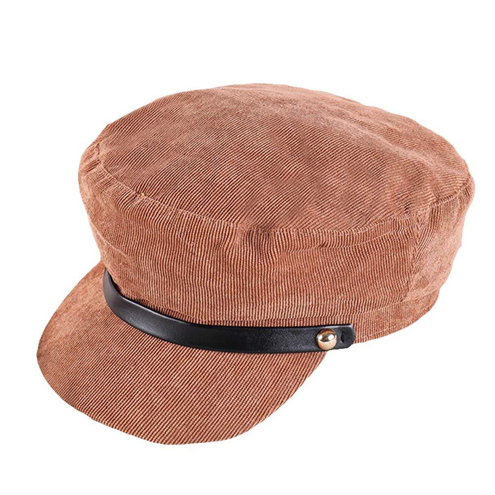 Shineweb Vintage Corduroy Women Beret Cap Winter Solid Color Wide Brim Strap Baker\s Hat