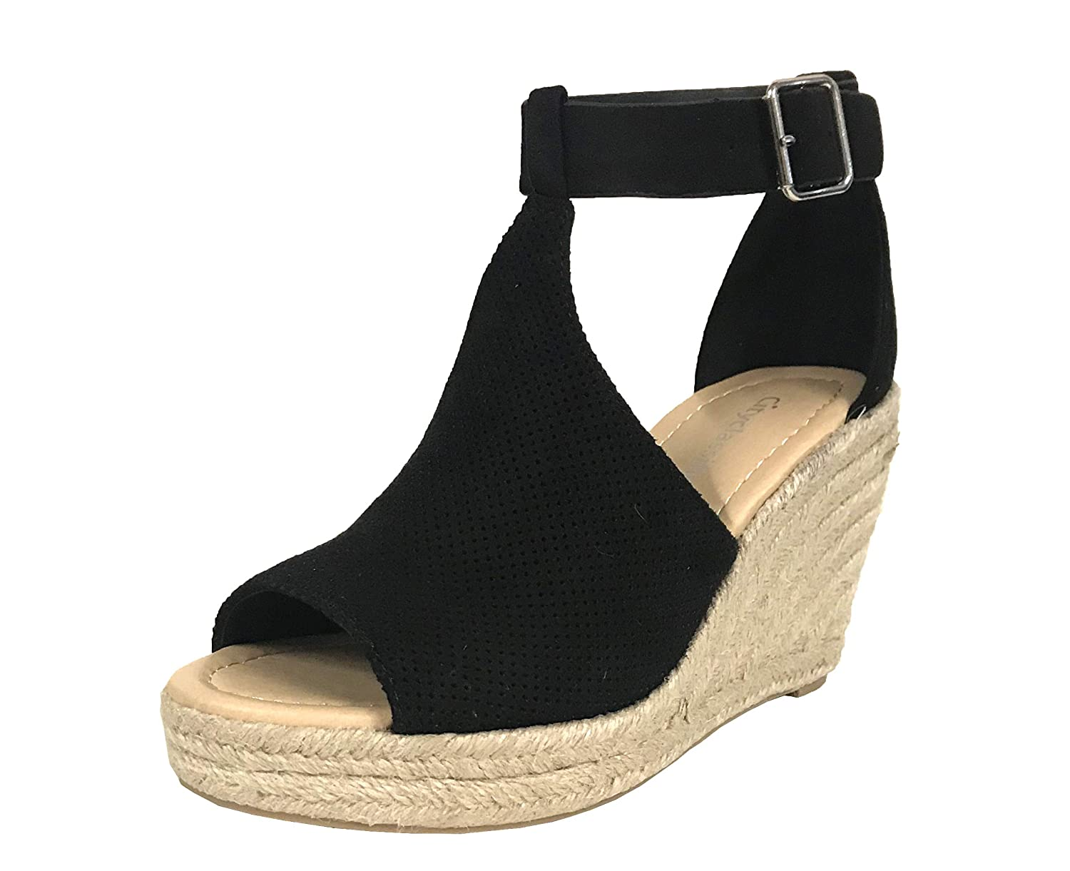20bde7a8f72 City Classified Women s Perforated Cutout Faux Suede Espadrille Platform  Wedge Sandals