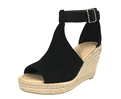 47d2556029eb City Classified Cashiers Women s Perforated Faux Suede Espadrille Platform  Wedge Sandals
