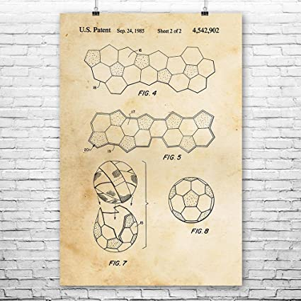 Soccer Ball Pattern Poster Patent Print Wall Art