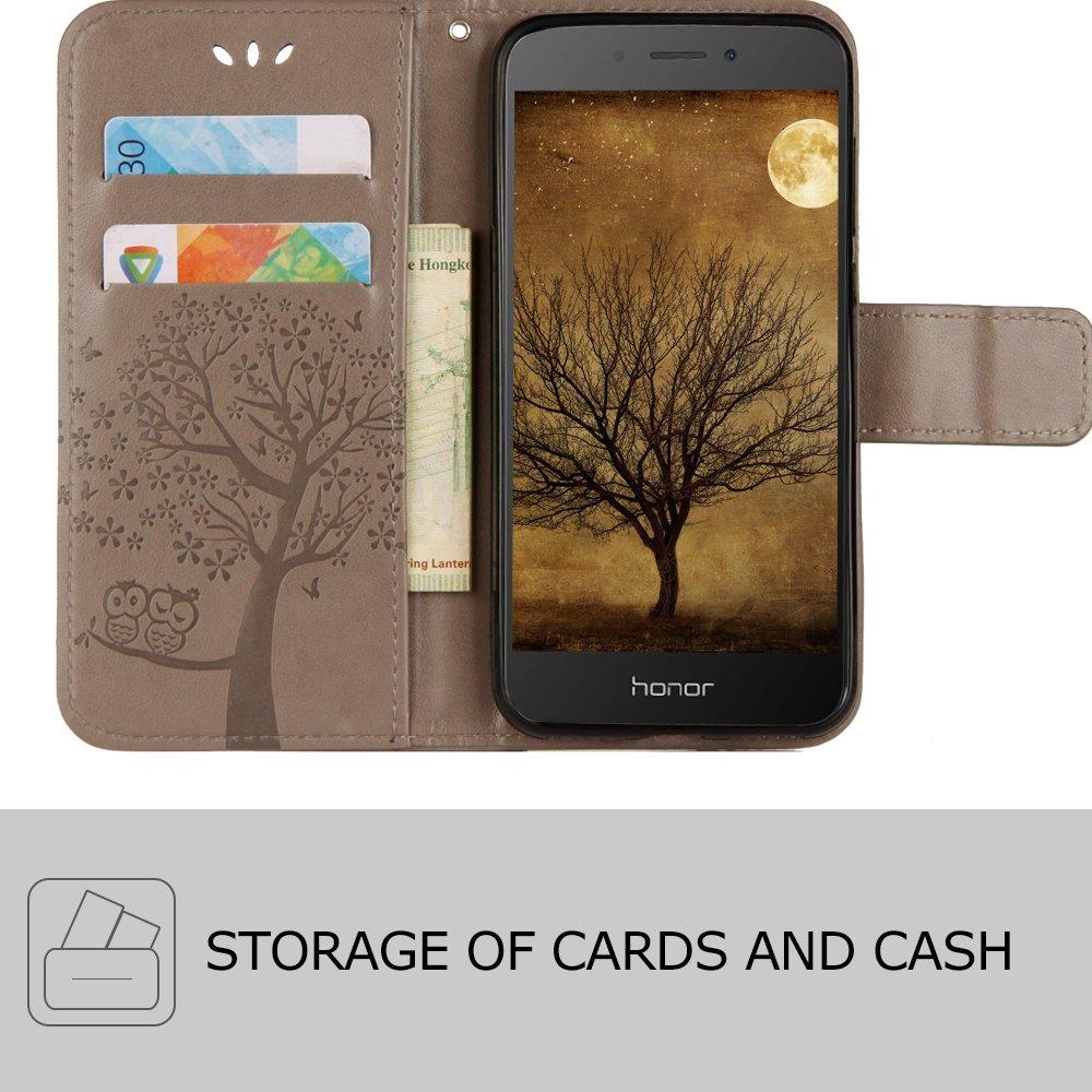 Portafoglio con Funzione Supporto e Slots Sintetica Pelle Flip Case Cover Albero Gufo Nero CLM-Tech Custodia per Huawei Honor 6A