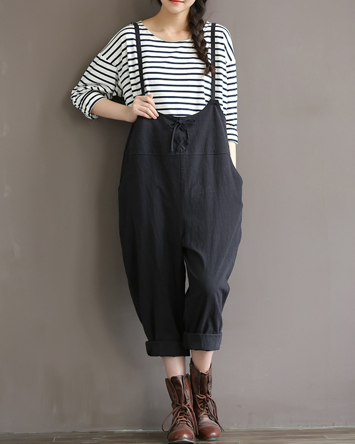 GZBQ Overalls for Women Casual Cotton Jumpsuit Plus Size Baggy Bib Wide Leg Overalls Pants Black 2XL by GZBQ (Image #2)