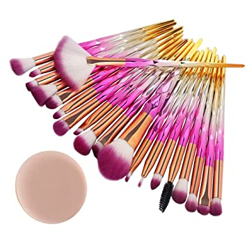 Amazon.com: Cosmetic Brush sets,20 pcs professional Brush+Sponges ...