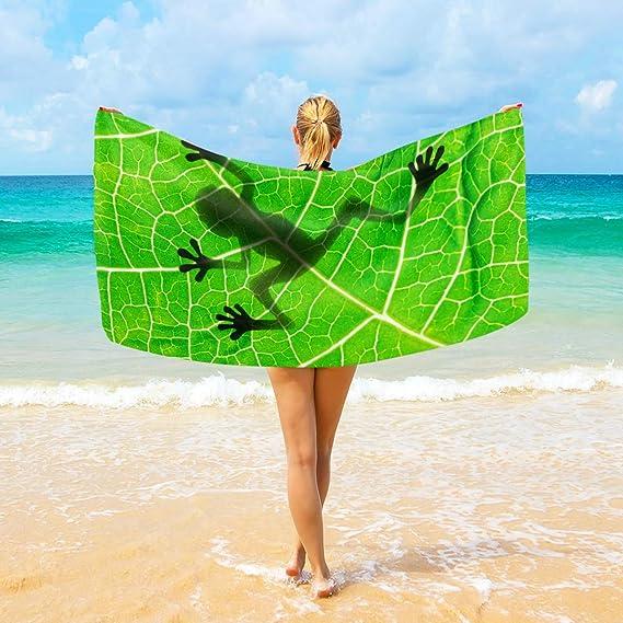 Plume De Paon Motif Microfibre Serviette de plage Homme Vert