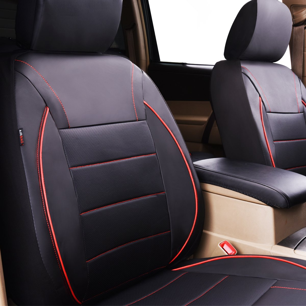 CAR PASS Universal FIT Piping Leather Car Seat Cover 11PCS, Black and Beige for suvs,Van,Trucks,Airbag Compatible,Inside Zipper Design and Reserved Opening Holes
