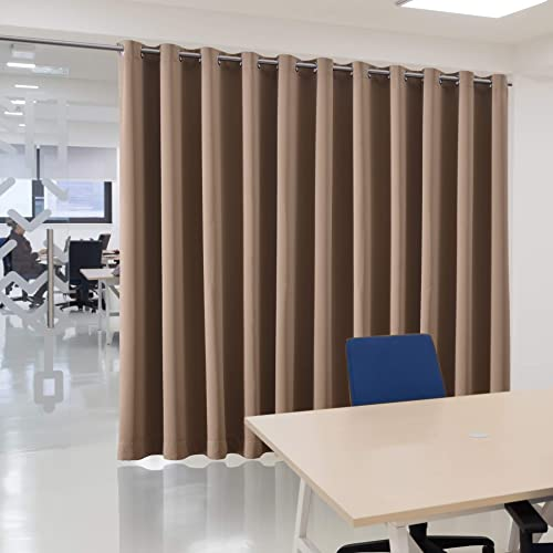 bluCOASTLINE Room Divider Curtain Multiuse Premium Heavyweight Thermal Insulated Wide Width Blackout Curtain Panel Space Division Total Privacy Protection,15ft Wide x 8ft Tall Tan