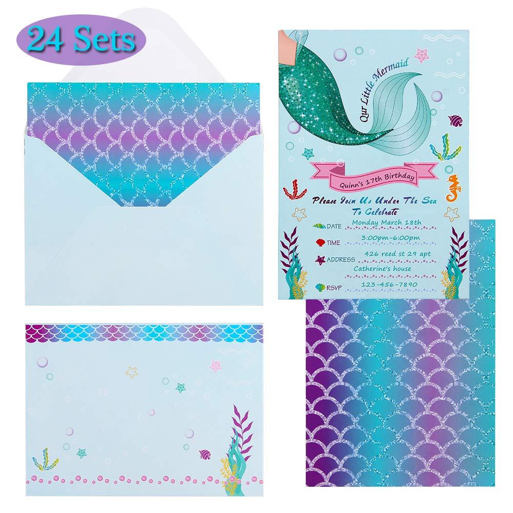 24Sets Kids Baby Shower Mermaid Wedding Birthday Party Invitations ...