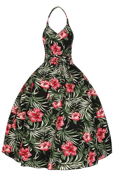 Espalda descubierta mujeres años 1950, diseño Vintage Floral Swing-vestido de fiesta, color