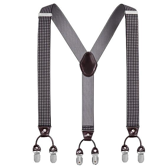 Men/'s Y-Back Adjustable Elastic Clip Suspenders Pants Braces for Casual Formal