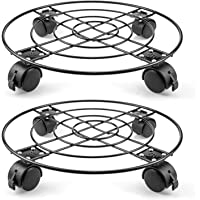 Fasmov 2 Pcs 13 inches Plant Caddy Heavy Duty Iron Potted Plant Stand with Wheels Indoor Outdoor Tool