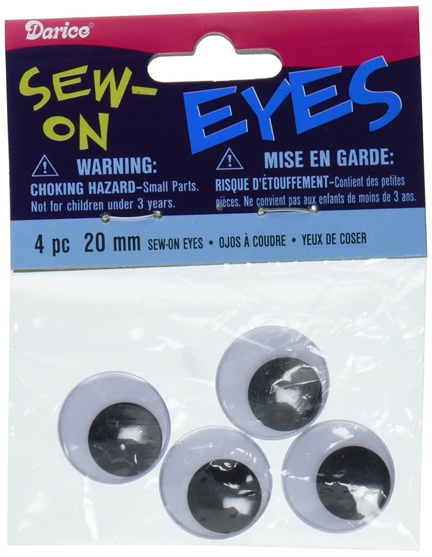 Darice 4 Piece Bulk Movable Sew On Eyes 20 Millimeter Black