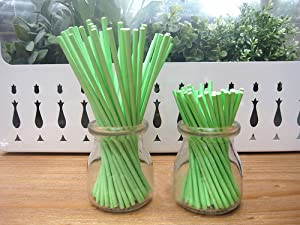 Dealglad 100pcs Paper Lollipop Sucker Sticks for Cake Pops Candy, 6-Inch by 5/32-Inch (Green)