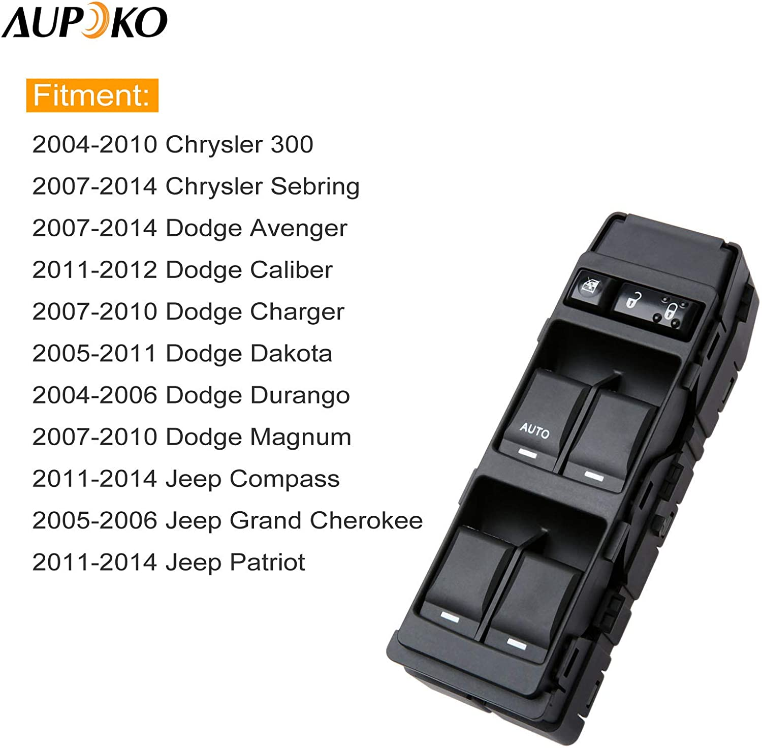 Power Window Switch Replacement fits for 2007-2010 Dodge Caliber Hatchback 2009-2010 Chrysler 300 2007-2010 Chrysler Sebring 2007-2008 Dodge Magnum 2013-2017 Jeep Compass Patriot Replace 4602780AA