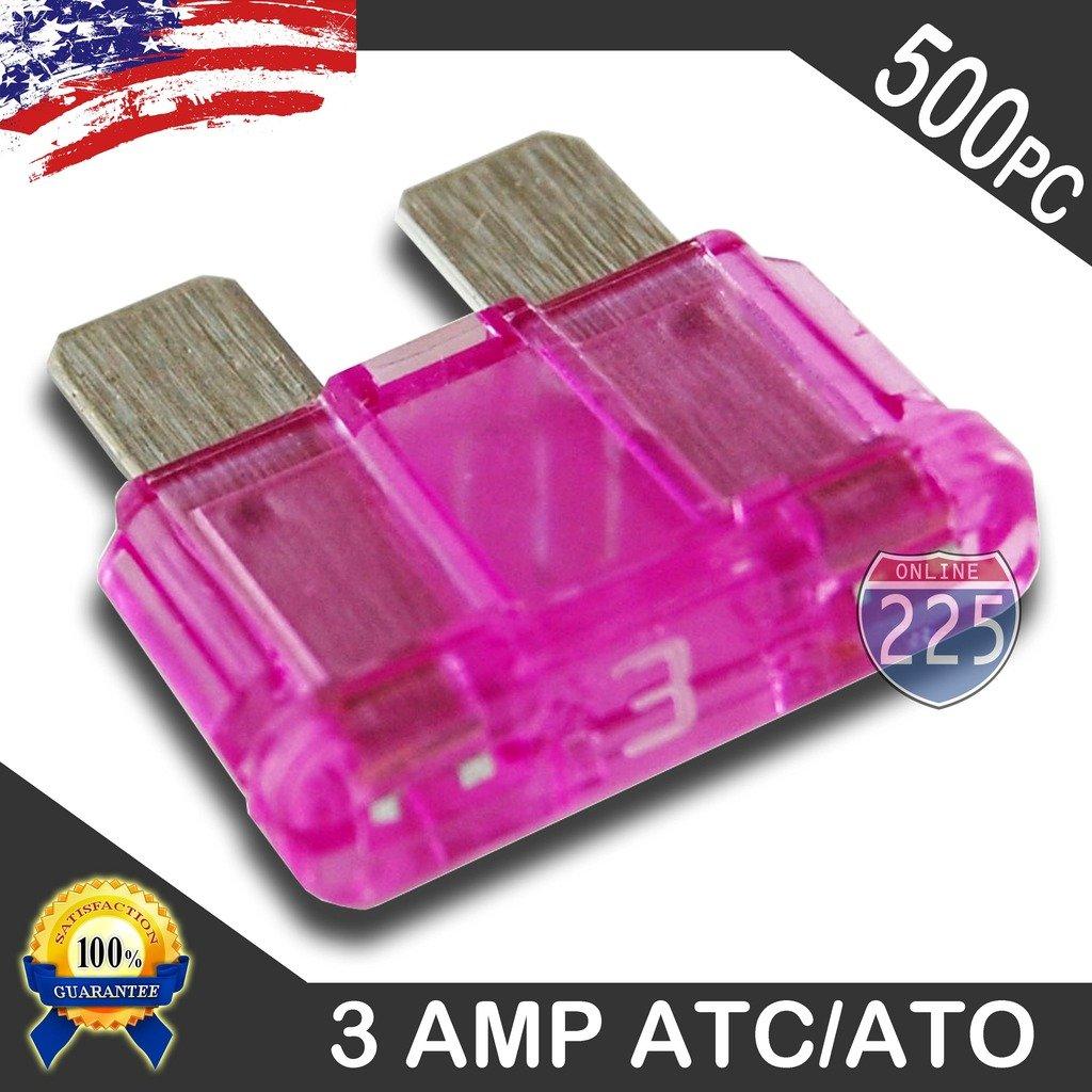 500 Pack 3 AMP ATC/ATO Standard Regular Fuse Blade 3A Car Truck Boat Marine RV