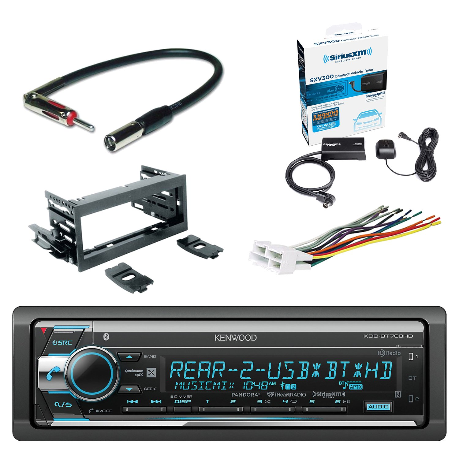 Kenwood Single Din Cd Am Fm Car Audio Receiver With Chevy Xm Radio Wiring Harness Color Code Bluetooth Siriusxm Satellite Vehicle Tuner Kit Scosche Dash Gm