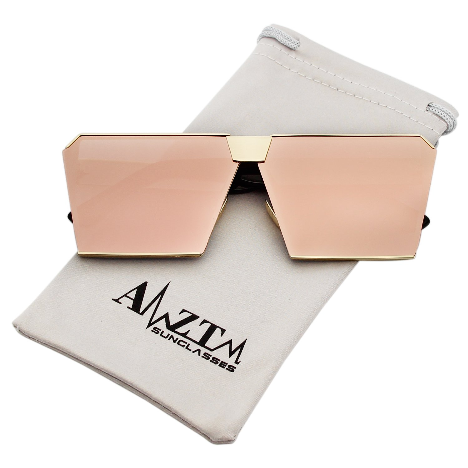 AMZTM Trend Fashion Square Metal Frame Mirrored Reflective REVO Lens Oversized Polarized Sunglasses For Women and Men (Golden Frame and Pink Lens, 63)