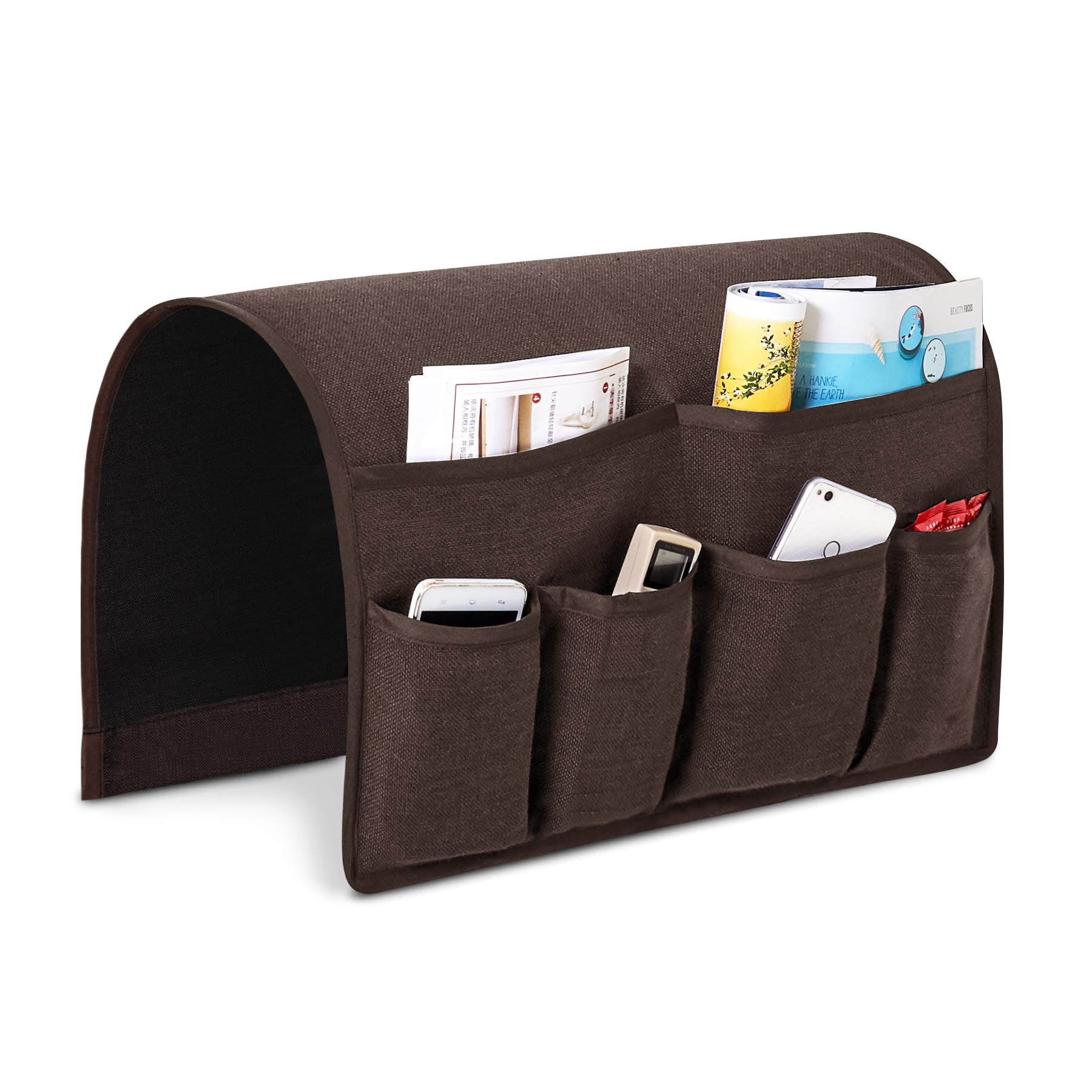 Joywell Sofa Armrest Pocket Organizer, Couch Arm Chair Caddy with 6 Pockets for Magazine, Books, TV Remote Control, Cell Phone, iPad (Chocolate)
