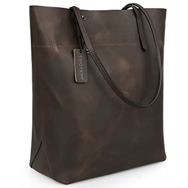 Jack&ChrisPerfect Ladies' Genuine Leather Tote Bag Handbag Shoulder Bag,YSZ112 (Coffee)