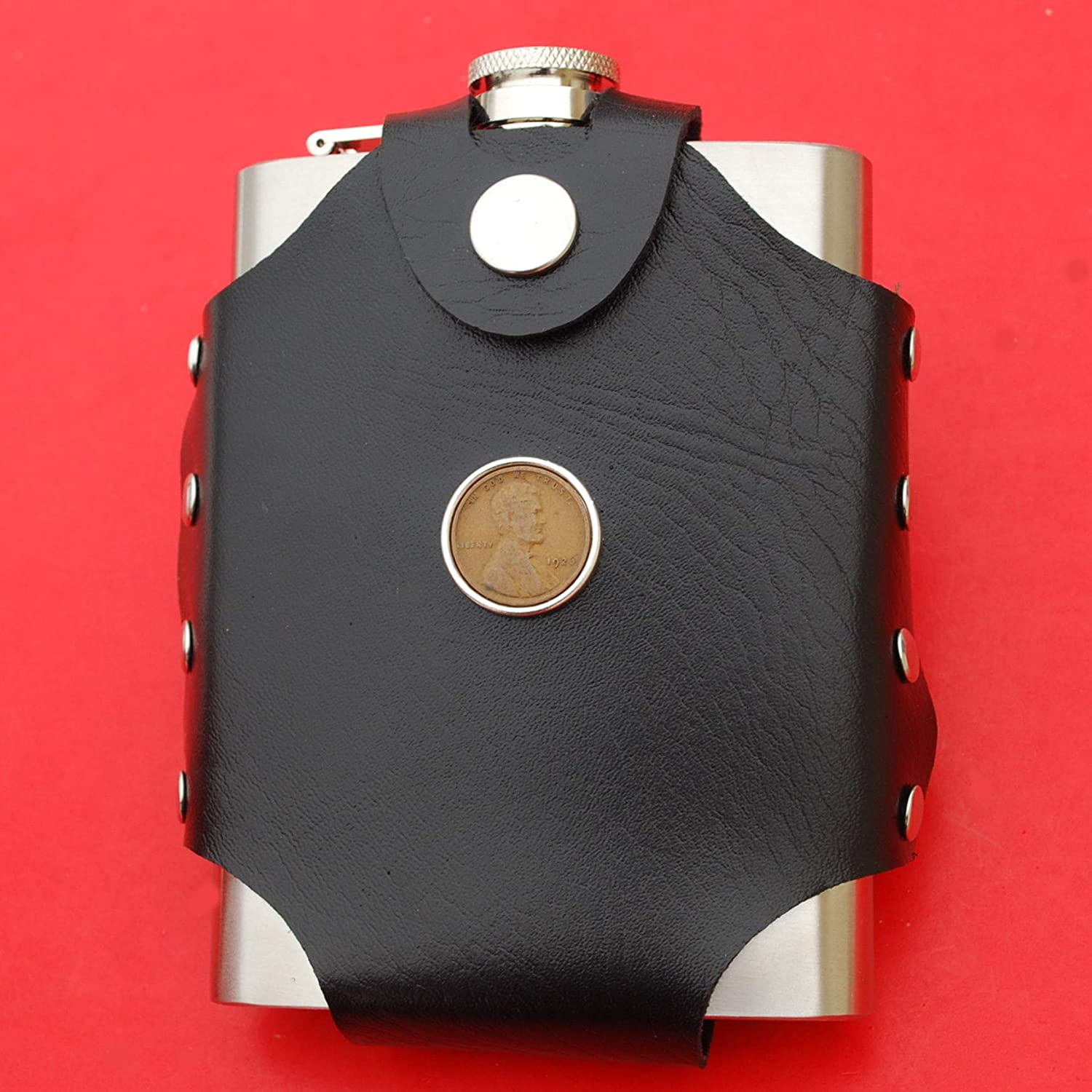 Water Wine etc US 1959 Lincoln Penny BU Uncirculated 1 Cent Coin Leak Proof Black PU Leather Wrapped Stainless Steel 8 Oz Hip Flask Liquor - Lucky Penny